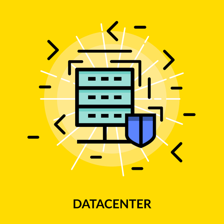 datacenter: Datacenter colored isolated flat icon in white light on yellow or canary background vector illustration