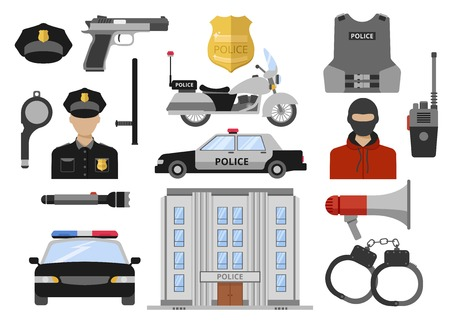 motorcycle officer: Police decorative flat icons set with building car motorcycle officer weapon handcuffs criminal vest isolated vector illustration
