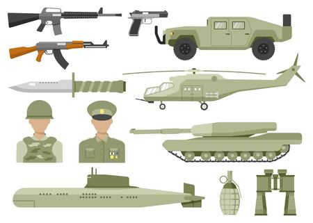 cross armed: Army decorative flat icons set with avatars of officer and soldier helicopter tank submarine isolated vector illustration