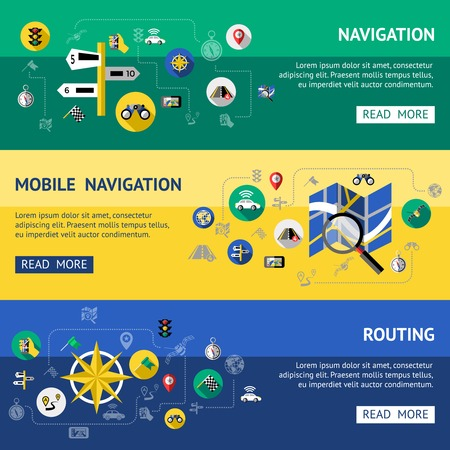 routing: Flat navigation banner set with descriptions of mobile navigations and routing vector illustration Illustration