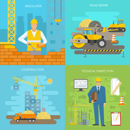 bricklayer: Construction icon set with descriptions of bricklayer road repair construction and technical inspection vector illustration