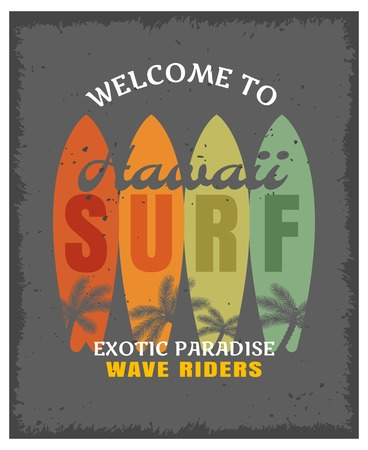 Surfing print or poster with four colored surf board and title welcome to Hawaii exotic paradise wave rides vector illustration