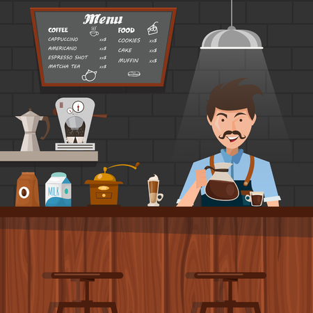 mustached: Barista at work design with mustached man pouring coffee in cup behind wooden bar counter vector illustration