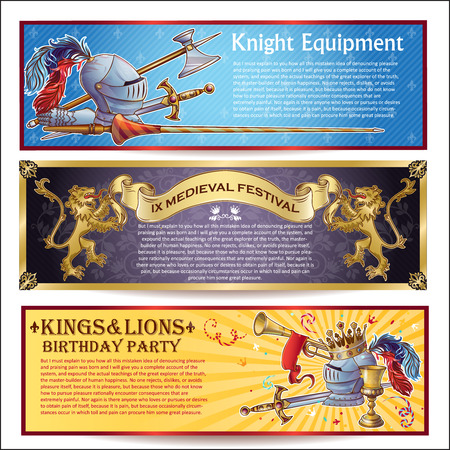 thematic: Knight horizontal banners set with military equipment medieval festival thematic birthday party isolated vector illustration