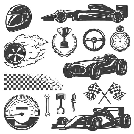 nitro: Racing black and isolated icon set with tools and equipment for street racer vector illustration Illustration