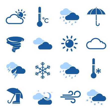 thermometers: Weather forecast isolated blue icon set with thermometers and different elements on wheather theme vector illustration
