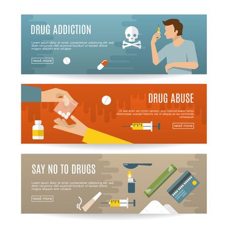 Flat drugs banner set with descriptions of drug addiction drug abuse say no to drugs vector illustration Illustration