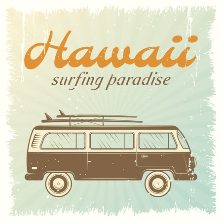 Surfing car retro poster with bus on light blue background and headline Hawaii surfing paradise vector illustration 向量圖像