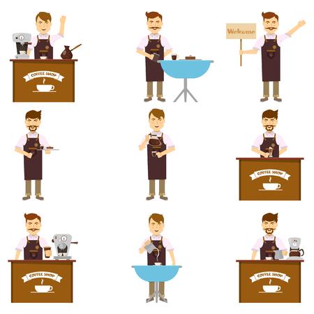 Karakters van barista set van vrolijke mannen in schort met baard snor het maken van geïsoleerde koffie vector illustratie