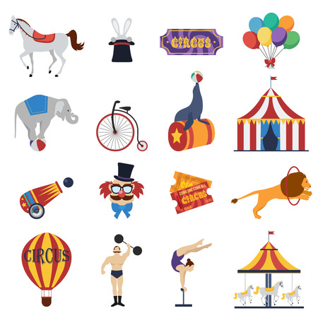 strongman: Circus decorative icons set with signboard tent tickets clown strongman animals balloon carousel cannon isolated vector illustration