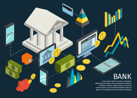 dotted lines: Atm hands isometric poster with dotted lines that lead from the bank to objects and money vector illustration
