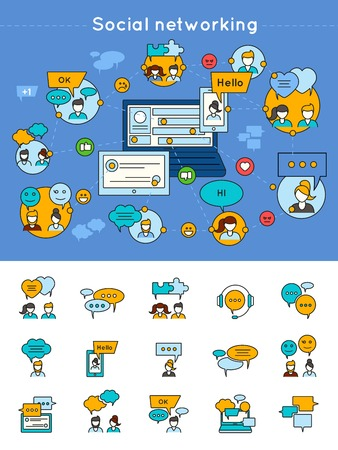 speed dating: Social network concept with  communication and contacts design on blue background and chat icons isolated vector illustration