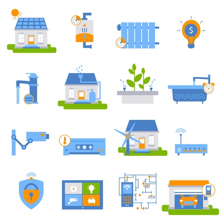 automated: Smart house decorative flat icons with green energy air conditioner automated gateway camera heating isolated vector illustration