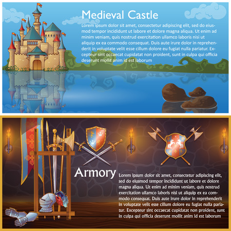 Attributes of knight compositions with medieval castle and heraldic signs on armour weapons shields isolated vector illustration Vetores