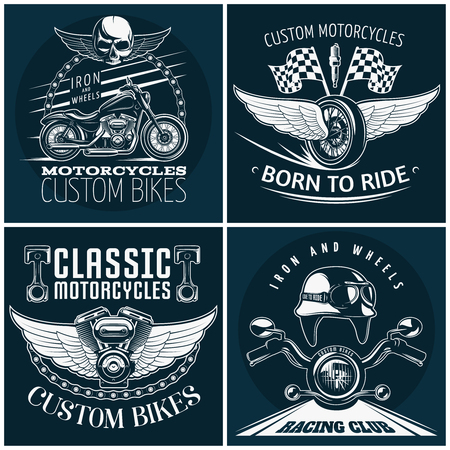 racer flag: Motorcycle detailed emblem set with descriptions of custom bikes born to ride classic motocycles and racing club vector illustration Illustration