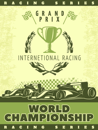 nitro: Racing green poster with sport cars and description of international racing world championship vector illustration