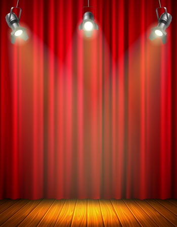 floodlight: Illuminated empty stage with red curtain of glowing material wooden floor hanging floodlight vector illustration