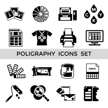 polygraphy: CMYK black polygraphy icon set with equipment tools and accessories for printing vector illustration
