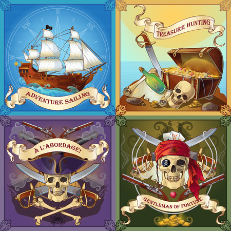 fortune concept: Sea robbers concept with adventure sailing treasure hunting boarding of ship gentleman of fortune isolated vector illustration
