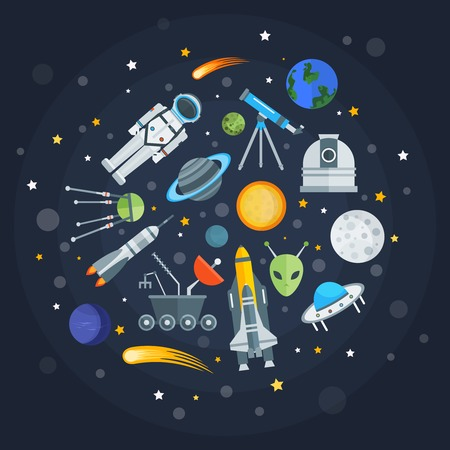 exploration: Space exploration round design with planets comets satellites shuttle alien telescope rocket on blue background vector illustration