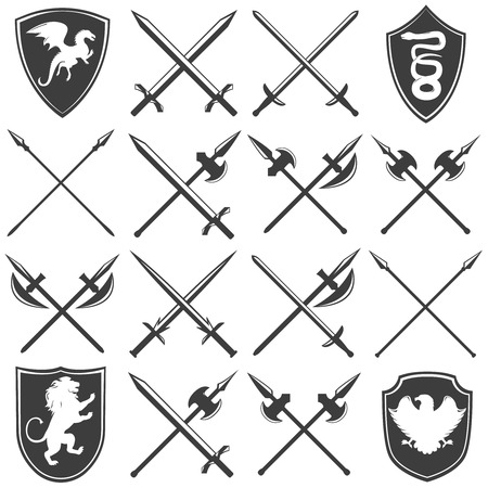armory: Heraldic armory graphic icons set with dragon lion eagle snake shields gothic swords lances isolated vector illustration