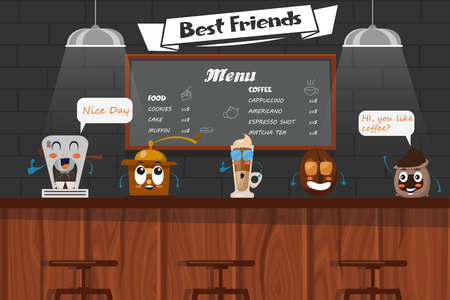 best: Funny best friends of barista with cartoon coffee bean latte grinder maker on bar counter vector illustration