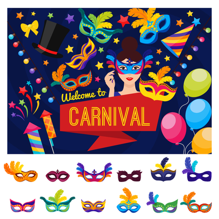 disguised: Welcome to carnival concept with disguised colorful festival and set of mask icons isolated vector illustration