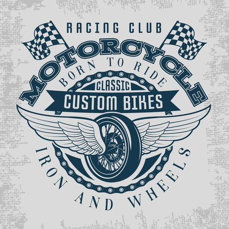 titles: Wheel and wings print with descriptions of racing club classic custom bikes iron and wheels vector illustration