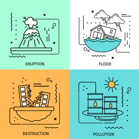 damage: Four square disaster damage colored icon set in linear style with descriptions of eruption flood destruction and pollution vector illustration