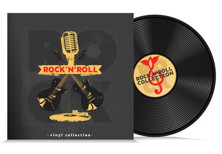 Kompozycja płyty z muzyką winylu realistyczne dysk muzyczny z headline rock n rolki ilustracji wektorowych