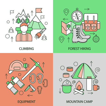 sportive: Mountain climbing linear compositions with alpinism forest hiking sportive equipment tourist camp isolated vector illustration