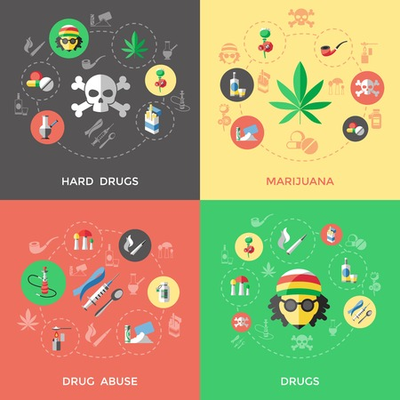 heroin: Flat drugs icon set with descriptions of hard drugs marijuana drug abuse and others drugs vector illustration
