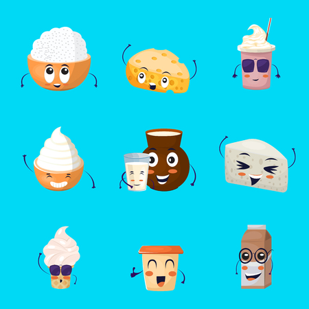 I prodotti lattiero-caseari icone cartoon impostato con latte bevande gelato formaggio su sfondo blu isolato illustrazione vettoriale