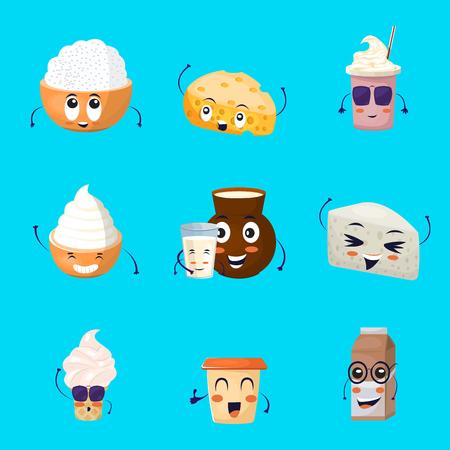 icônes produits de bande dessinée laitiers fixés à la crème glacée boissons au lait de fromage sur fond bleu vecteur isolé illustration