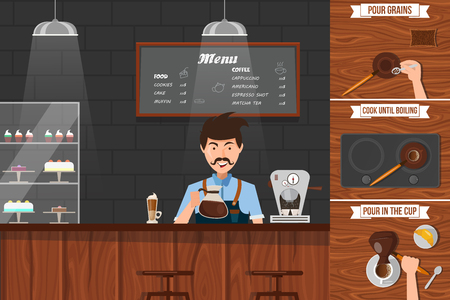 mustached: Work of barista leaflet with man pouring drink behind counter and stages of making coffee vector illustration Illustration