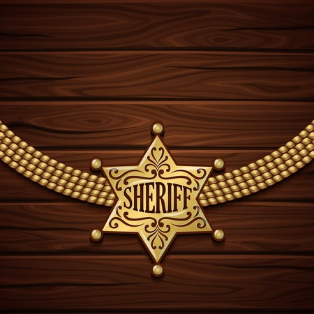 david brown: Sheriff badge design with golden shiny six rays star and chain on wooden background vector illustration Illustration