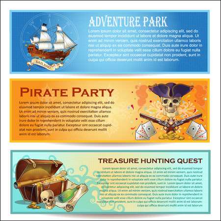cocked hat: Pirates horizontal banners set with adventure park sea robbers party treasure hunting quest isolated vector illustration Illustration