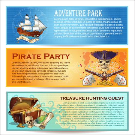 Pirates horizontale Banner mit Abenteuerpark Seeräuber Party Schatzsuche Suche isolierten Vektor-Illustration gesetzt