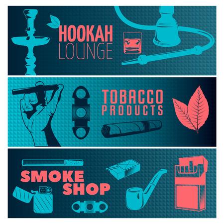 Three horizontal smoking banner set on hookah lounge tobacco products and smoke shop themes vector illustration