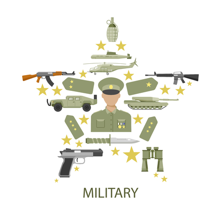 straps: Army star composition with officer in center shoulder straps military vehicles ammunition and inscription vector illustration Illustration