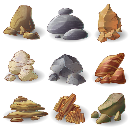 formation: Rocks stones collection of natural minerals with different shape formation and color isolated vector illustration Illustration