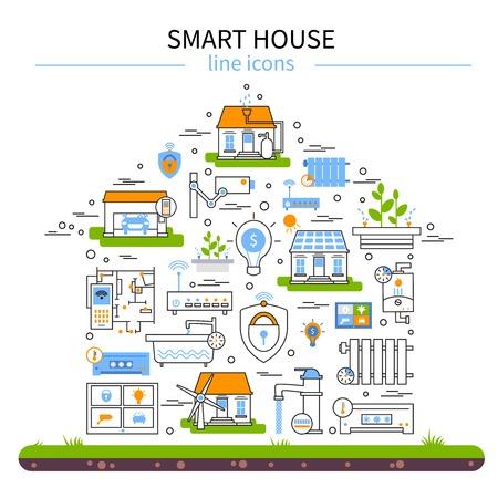 スマートハウス フラット カラー アイコン直線的なスタイルの設定し、技術要素のベクトル図と家の中の図形を組み合わせる