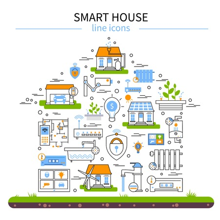 Smart house flat colored icon set in linear style and combined in house shape with technology elements vector illustration Illustration