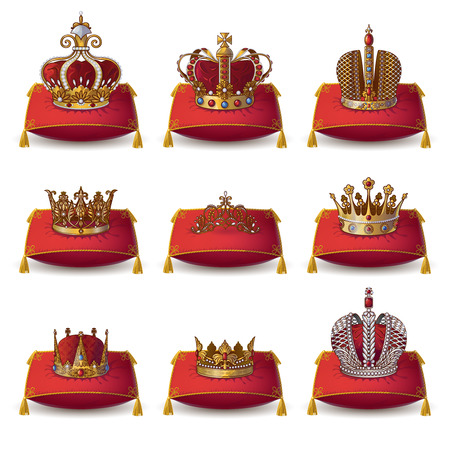 red pillows: Crowns of kings and queen collection on red pillows with yellow tassels isolated vector illustation