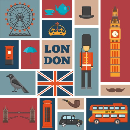 english culture: London isolated square icon set chaotic size and arrangement about recognizable features of united kingdom vector illustration Illustration