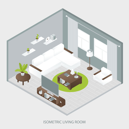 white sofa: Isometric sitting room with white sofa brown table two windows curtains wall shelves grey parquet  vector illustration Illustration