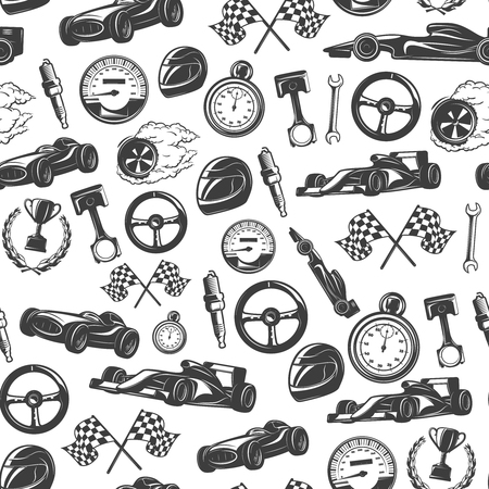 nitro: Racing emblems seamless background pattern with isolated equipment and tools for racing vector illustration