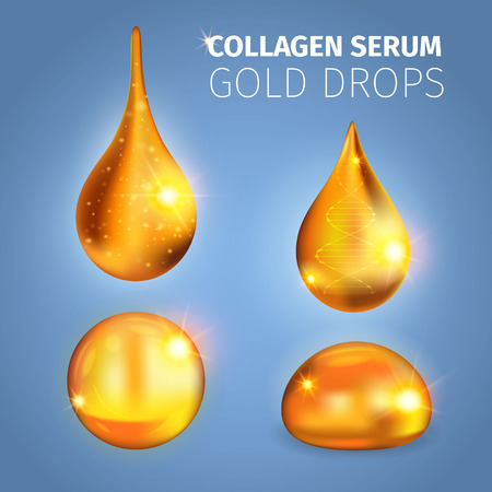 Collagen serum golden drops with shiny surface specks of light dna helix on blue background vector illustration Illustration
