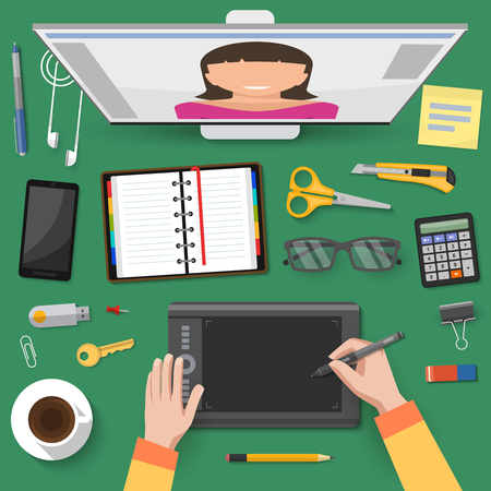talks: Internet talks at workplace top view with hands of worker screen stationery on green background vector illustration