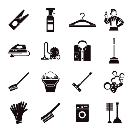 premises: Cleaning black icon set with special tools for washing of premises on white background vector illustration Illustration